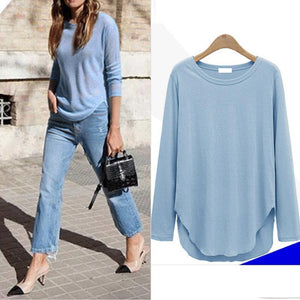 Round Neck Long Sleeve Asymmetric Hem  Shirt
