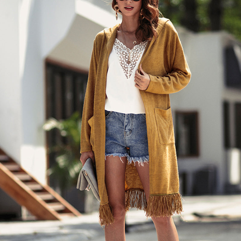 Women's Long Sleeve Long Tassel Cardigan Coat