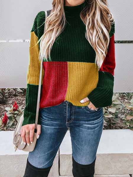 Casual Elegant Plaid Pullover Long Sleeve Sweater