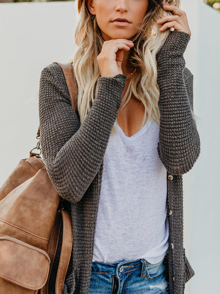Casual Elegant Pure Colour Long Sleeve Cardigan