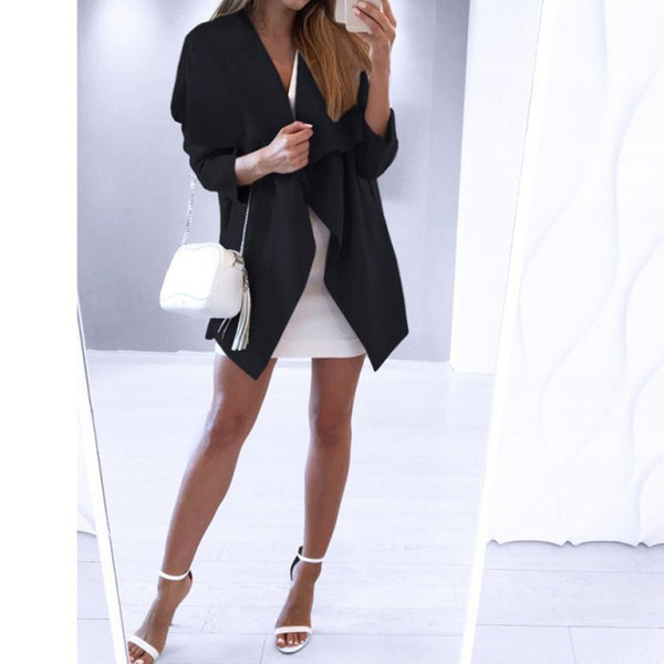 Fashion Elegant Pure Colour Long Sleeve Belted Outerwear