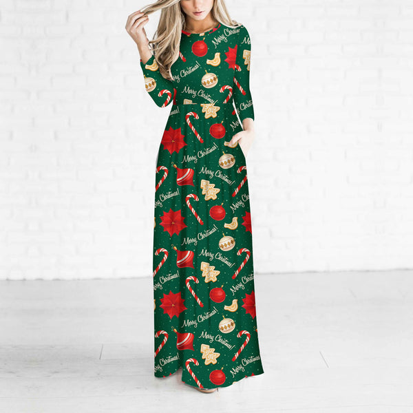 Casual Christmas Pattern Long Sleeve Maxi Dresses