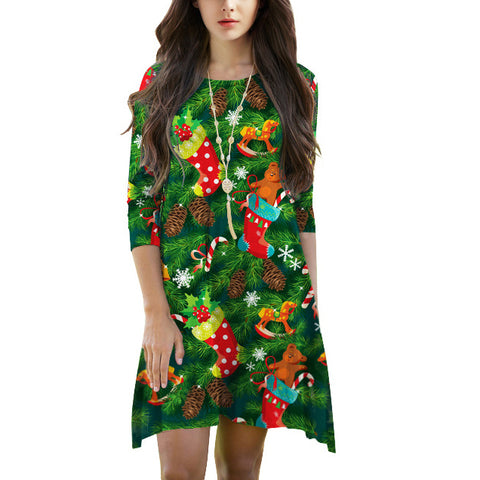 Fashion Round Neck Christmas Printed Colour Mini Dresses