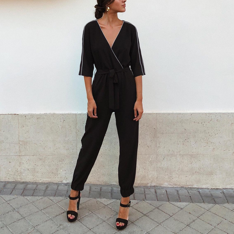 Fashion Casual Solid Color V Neck Jumpsuits