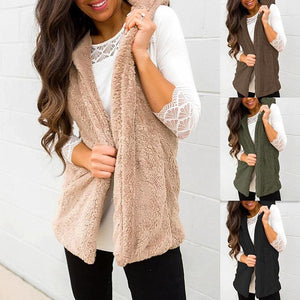 Hooded Plain Casual Vests Cardigans