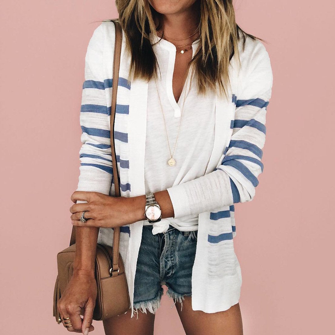 Long Sleeve Striped Sweater Cardigans