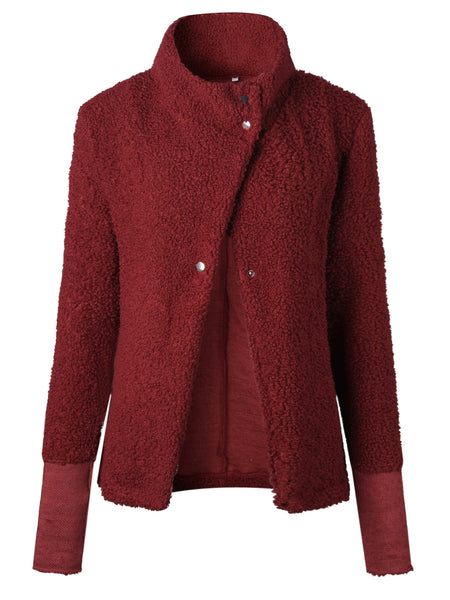 Autumn and winter fashion high collar button sweater coat