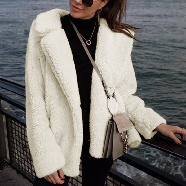 Fashion suit collar plush faux fur jacket