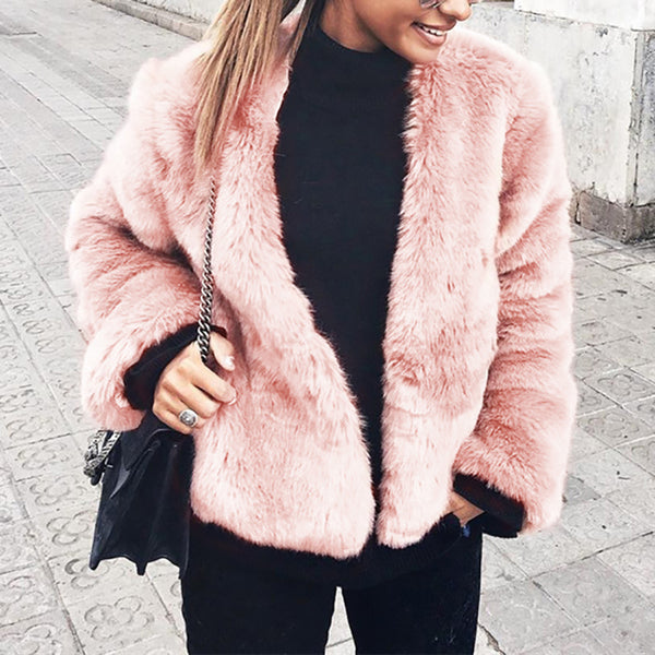 Fashionable Faux Fur Imitation Rabbit Fur Coat Faux Fur Coat