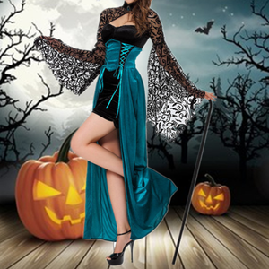 Halloween Blue Witch Sexy Lace Performing Suit