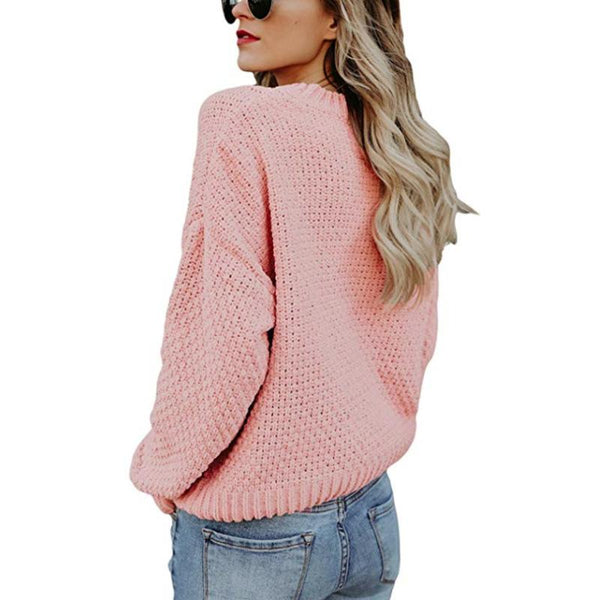 Women's Long-Sleeved Round Neck Pull-On Twist Twist Sweater