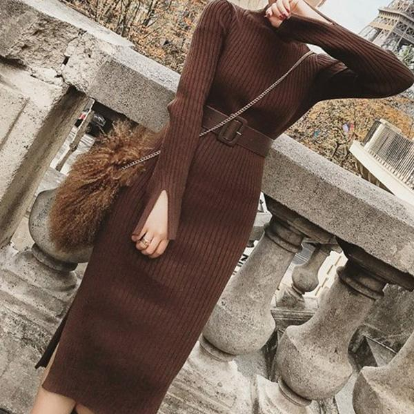 Pure Color Sexy  Butt Long Sleeve Knitted Maxi Dress