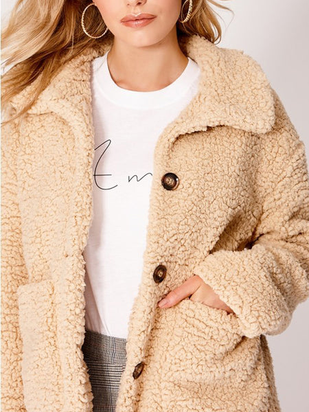 Fashion Long Sleeve Turndown Collar Warm Outerwear