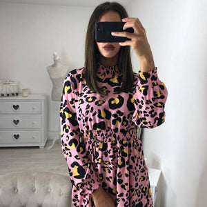 Fashion Stand Collar Leopard Print Mini Dresses