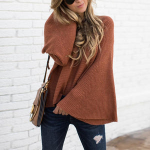 Solid Color Trumpet Sleeve Sweater