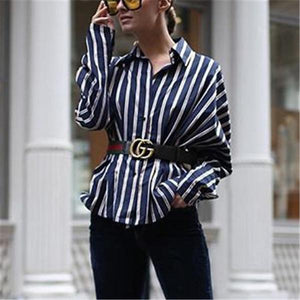 Fashion Contrast Color Vertical   Striped Shirt