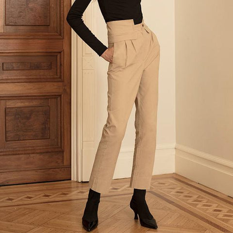 High Waist Straight BF Wind   Zipper Pants