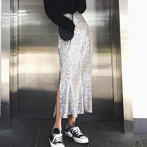 Sexy Open Bling Sequined Bodycon Skirt