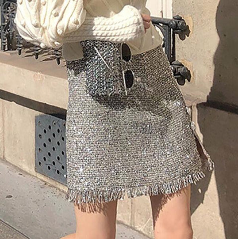 Silver Tassel High Waist Skirt