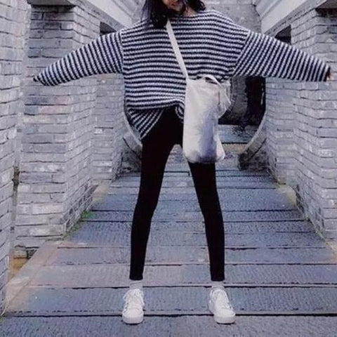 Black And White Striped Round Neck Sweater