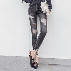 Broken Hole Black Gray Skinny Cropped Jeans