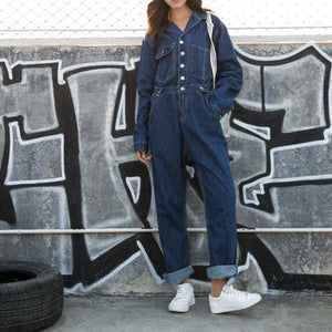 High-Waist Wide-Leg Loose Denim Jumpsuit