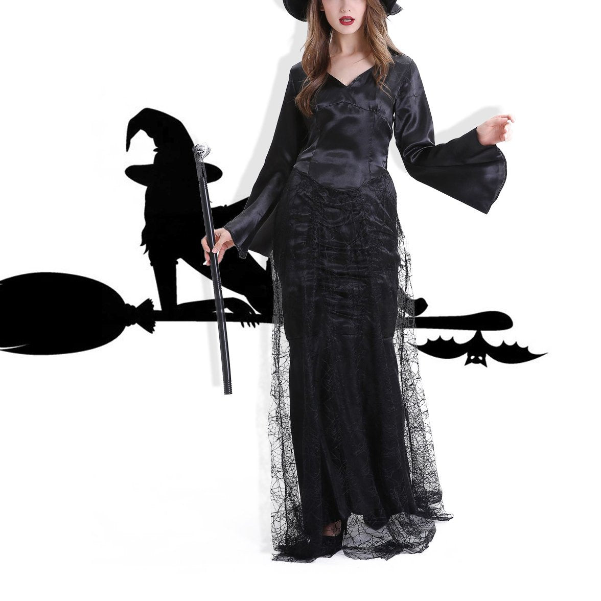 Halloween Black Cobweb Witch Cosplay Costume