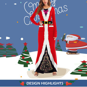 Christmas Costume Explosion COS Dress Up Ball Western Santa Long Sleeve Dress