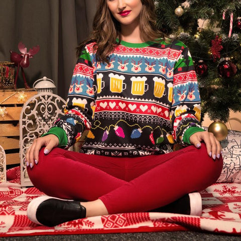 Women's Round Neck Loose Long-Sleeved Sweater Christmas Costume