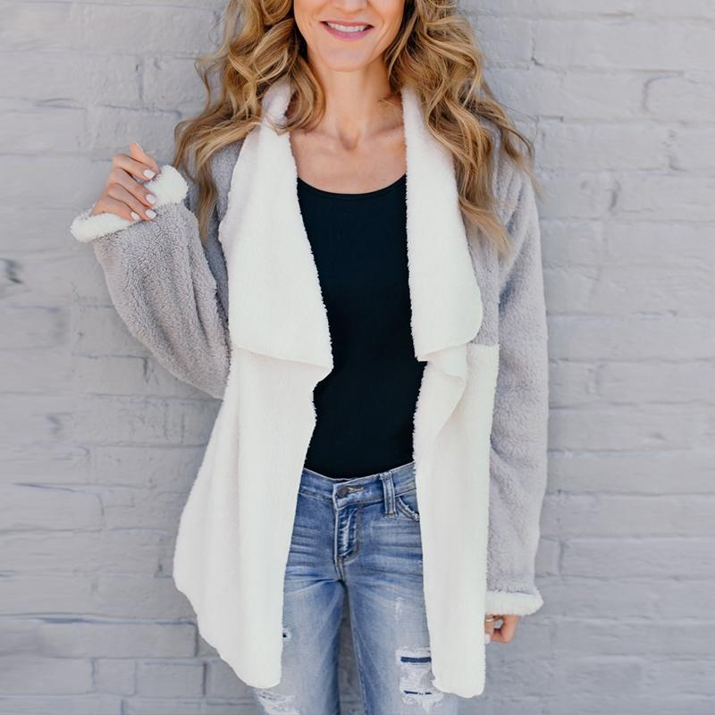 Fashion Color Block Long Sleeve Asymmetrical Collar Cardigans