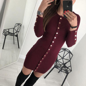 Sexy Long Sleeve Pure Colour Slim Mini Dresses