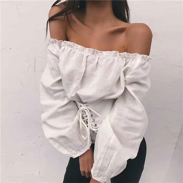 Tied Rope Lace Lantern Sleeves   Off-Shoulder Shirt