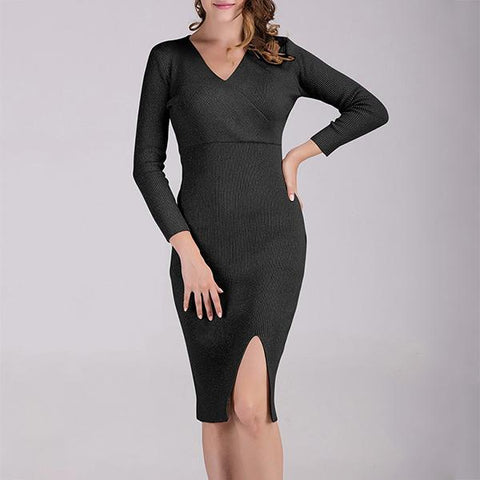 V-Neck Long-Sleeved Slim Bodycon   Dress