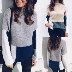 Colorblock Round Neck Long Sleeve Sweater