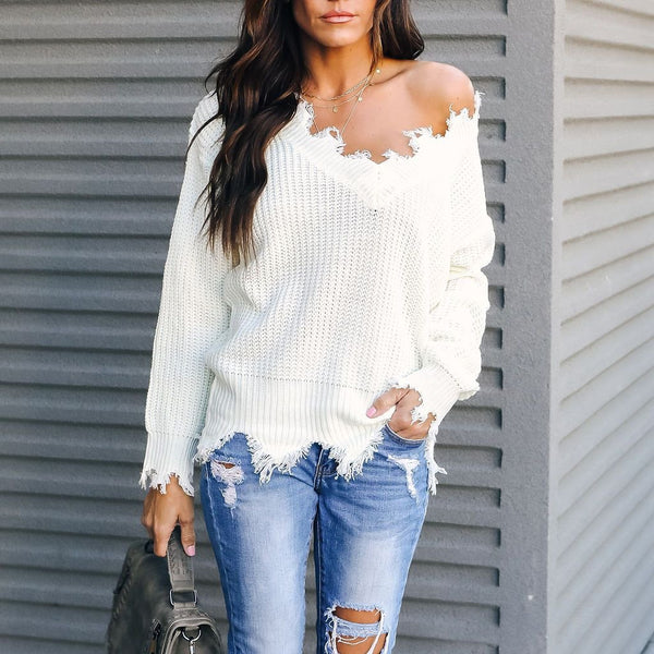 Casual Pure Colour Long Sleeve Cut Sweater