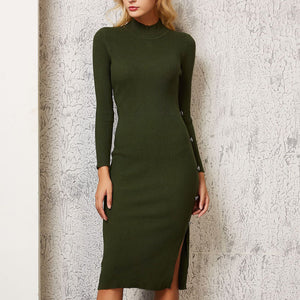 Sexy Round Neck Pure Colour Long Sleeve Bodycon Dresses
