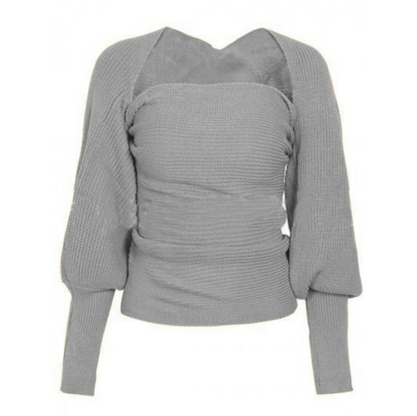 Sexy Off-The-Shoulder Solid Color Irregular Crossover Sweater