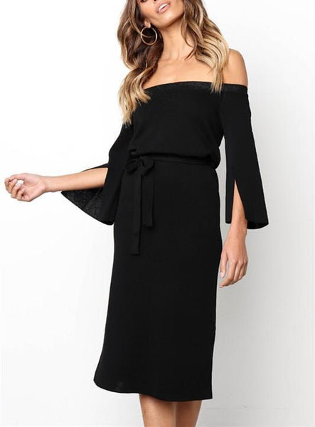 One Word Shoulder Pure Color Tie Belt Opens A Fork In The Long Dress