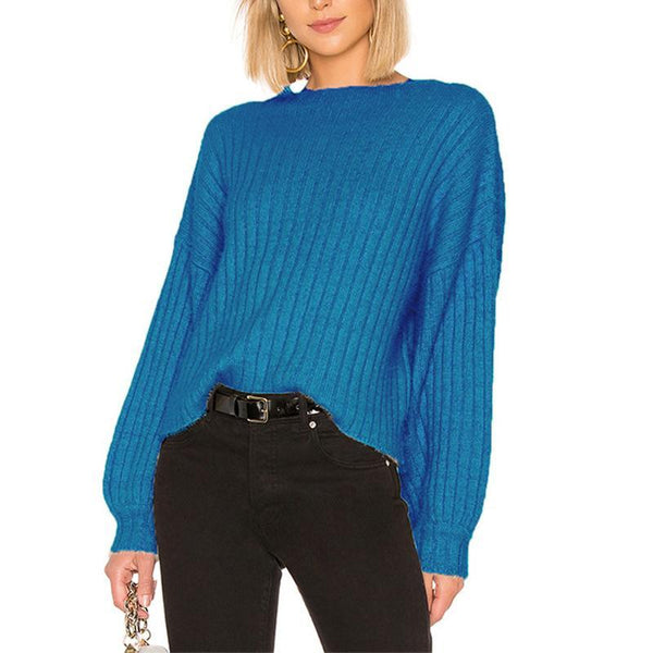 Round Neck Long Lantern Sleeve Knitting Casual Sweaters