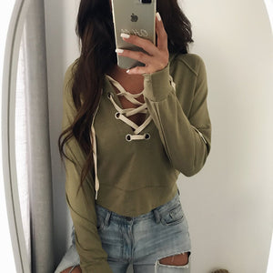 Chic Strap Short Hooded Sweater