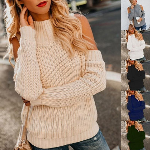 Turtle Neck Long Sleeve Hollow Out  Knitting Sweaters