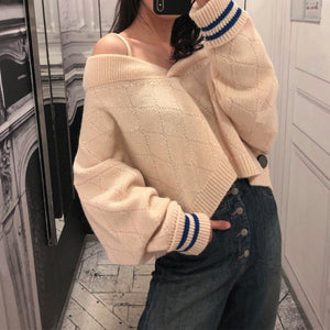 Sexy Spaghetti Straps Long Sleeve Knitting Fashion Sweaters