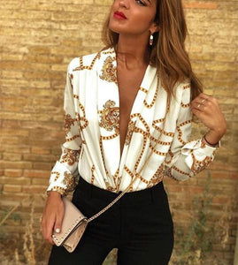Sexy Deep V Print   Long-Sleeved Fashion Blouse