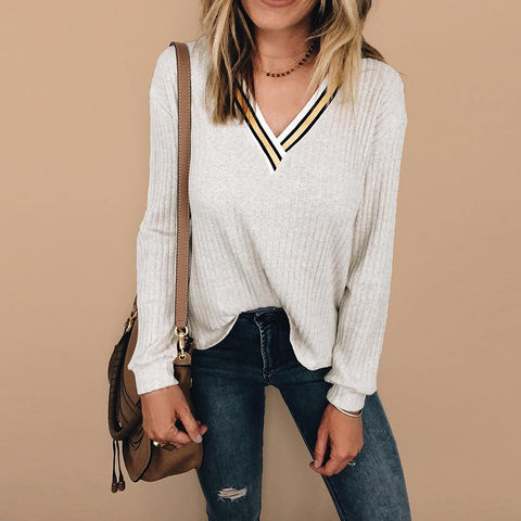 Chic Solid Color Pit V-Neck Long-Sleeved Sweater