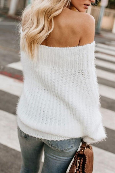 Off Shoulder  Backless  Plain Sweaters