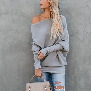 Sexy Off-The-Shoulder Solid Color Loose Sweater