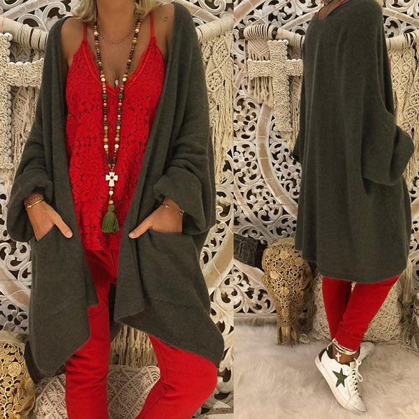 Fashion Long Lantern Sleeve Plain Pocket Cardigans