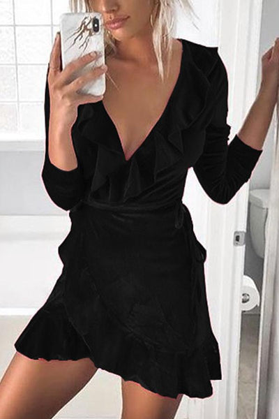 V Neck  Plain  Long Sleeve Bodycon Dresses