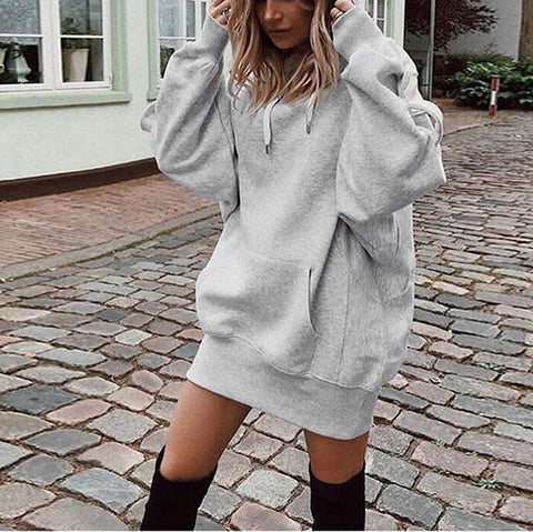 Fashion Solid Color Hooded Loose Padded Sweatshirt