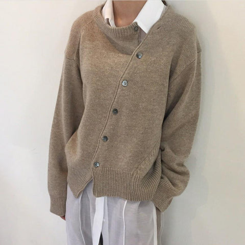 Fashion Irregular Knitwear Slanting Buckle sweater Cardigan